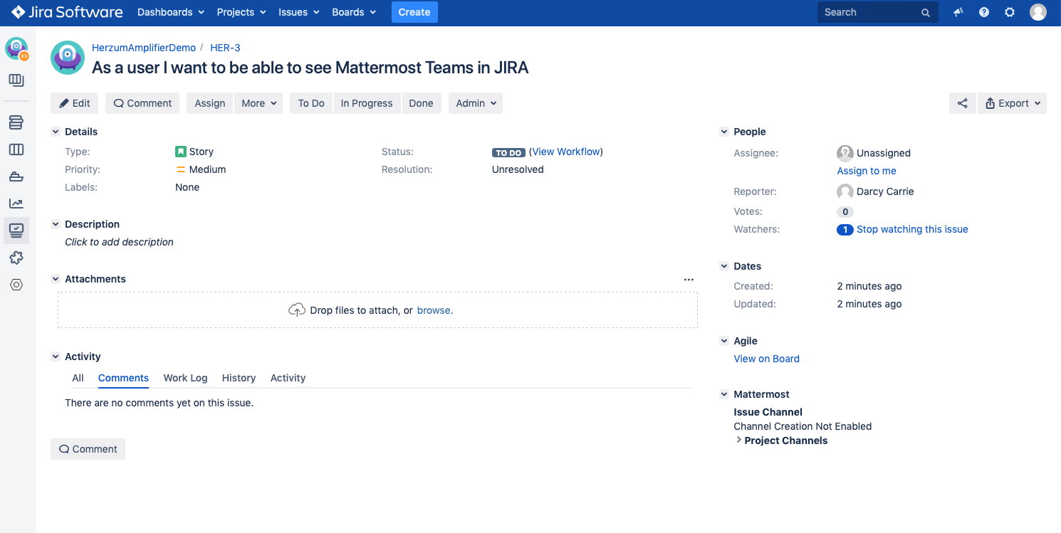 Creating a Mattermost channel from an issue in JIRA - Herzum