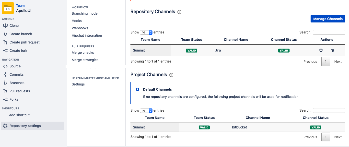 Amplifier for Mattermost for Bitbucket - Repository Settings